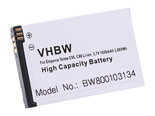 vhbw Li-Ion Akku 1050mAh (3.7V) für Seniorentelefon, Handy Emporia Telme C95, C96, C100, C110, C115, C135 wie AK-C115, BAT-C110.