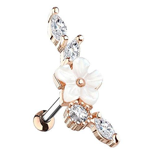 Piersando Tragus Helix Ohr Piercing Cartilage Knorpel Stab Stecker 316 L Chirurgenstahl Vintage Blume mit Strass Kristallen Steinen Rosegold