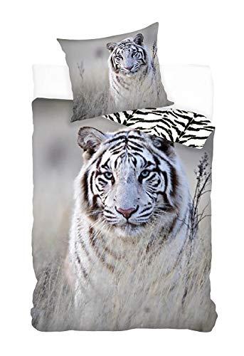 BrandMac Tiger - Juego de cama reversible (135 x 200 cm, 80 x 80 cm, algodón), diseño de gato depredador