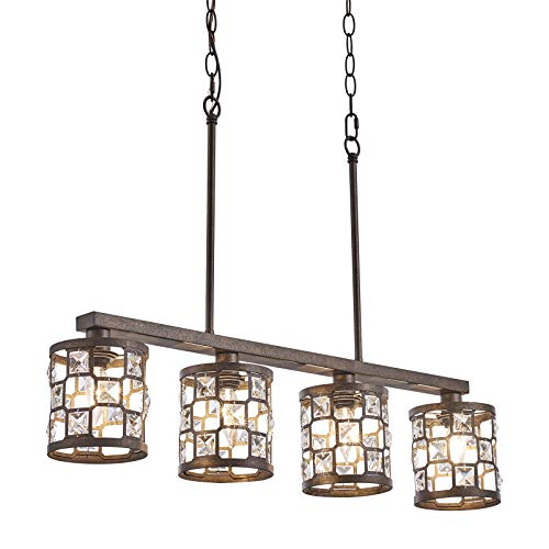 4-Light Kitchen Light Fixtures, Farmhouse Chandelier with Oil Rubbed Bronze Finish, Island Pendant Lighting for Dining Room and Bar
