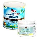 for you Power Eiweiß Chocolat Noir + natural Basenpulver im Set I 1x 750g Fitness Eiweisspulver mit...