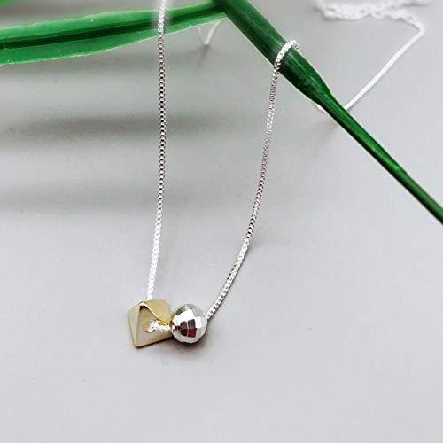 Likass Ms. 925 Sterling Silver Necklace Silver Pendant, La Mejor Opción para El Día De San Valentín, Regalo De Año Nuevo, Recuerdo De Aniversario,Símbolo De Amor-Bola Triangular