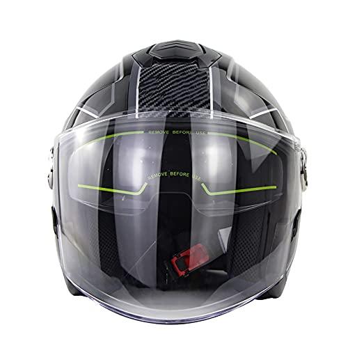 Letetexi Casco Moto Abierto Retro con Visera, ECE Homologado Casco Jet, Verano A Prueba De Viento Y Arena, Adultos Equitación Protectora Casco, para Scooter Ciclomotor Cruiser (52~63CM)