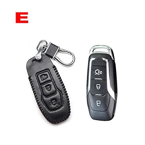 BYSDSG para el Titular de la Caja de la Llave del Coche de Cuero Carros Estilo Remoto Cubierta para Ford Mondeo 2 3 4 Focus MK2 MK3 MK4 MK5 Fiesta ST Fusion Ranger Galaxy, E Black Line