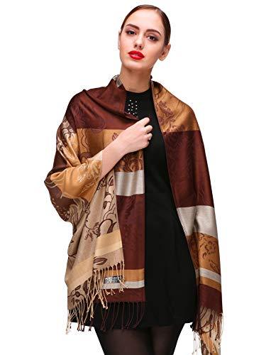 Shmily Girl Damen Schultertuch Stola - Eleganter Pashmina Schal mit floralem Muster in vielen Farben (One Size, Kaffee-c082)