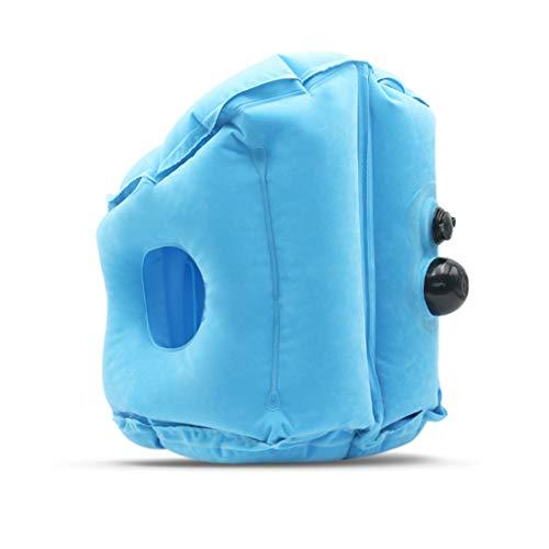 PLHMS Aufblasbare Reisekissen, Reisekissen Schlafmittel, PVC Beflockung Stoff, für Flugzeuge Züge Busse und Büro Napping,BlueSmall