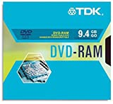 TDK 9.4GB 2X Double-Sided DVD-RAM in Type 4 Cartridge with Hard Coat Record Surface Scratch Protection