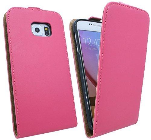 ENERGMiX Handytasche Flip Style kompatibel mit Samsung Galaxy S6 G920F in Pink Klapptasche Hülle