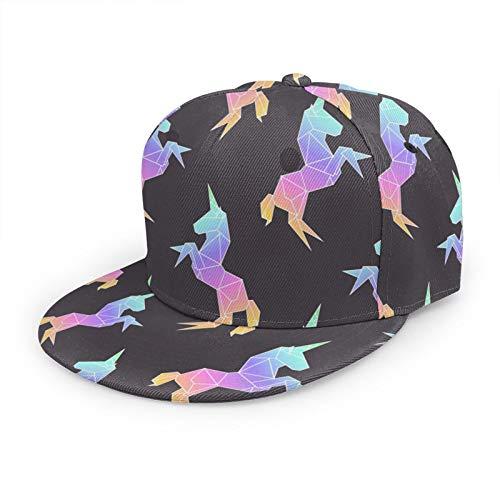 Nicokee Raibow - Gorra de béisbol con diseño de unicornio, estilo Origami, Polygon, Art Horse, Animal Pony Dream Japón, abstracto, plana, ajustable, para hombre y mujer