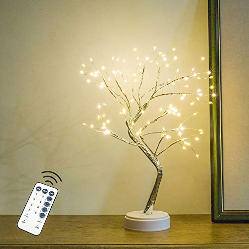 Firefly Tree Lamp with Remote - 20'' Fairy Light Spirit Tree,108 LED Lights Bonsai Tree Lamp DIY Artificial Light Tree Lamp Decoration for Gift Home Wedding Festival Holiday (Warm White)