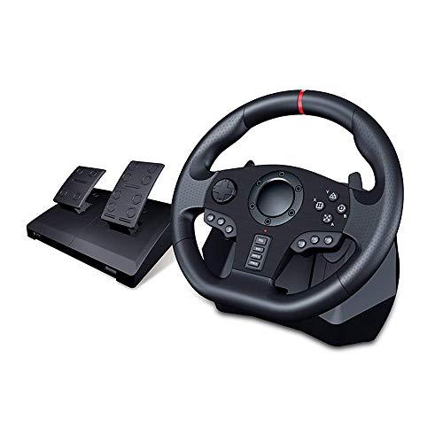 WYJW Lenkrad mit Pedalen und Schaltwippen für PS4, PS3, PC, X360, Schalter (kompatibel mit Allen Rennspielen)
