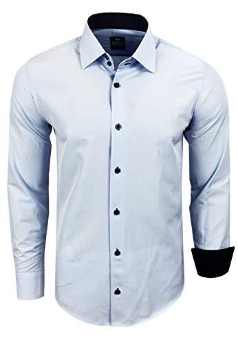 Rusty Neal Herren Hemd Stretch Business Kontrast Hemden Bügelleicht Slim 31 Farben S - 4XL, Farbe:Hell Blau, Größe:4XL