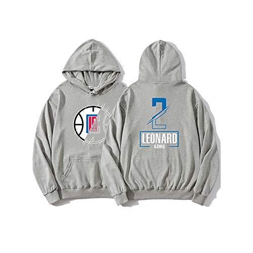 Los Angeles Clippers Kawhi Leonard #2 - Sudadera con capucha para hombre y mujer, diseño de uniforme de baloncesto con capucha y manga larga, color gris, talla L