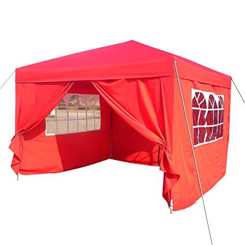 Homdox Tenda Gazebo Padiglione Pieghevoli Impermeabile 3M * 3M con Pannelli Laterali Finestra, Eventi, Matrimonio in Giardino in Acciaio Rivestito a Polvere Rosso