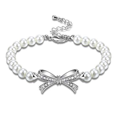 DEQIAODE witte parelarmband Swarovski Elements verstelbare armbanden bruiloft verjaardag sieraden geschenk voor haar - een elegant sieradendoosje inclusief