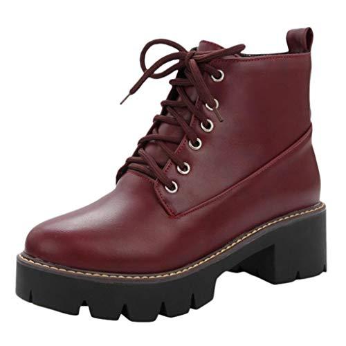 Carrymee Kunstleder Stiefeletten Herbst Vintage Schnürschuhe Damen Bequeme Flache Fersenstiefel Reißverschluss Kurzer Boot
