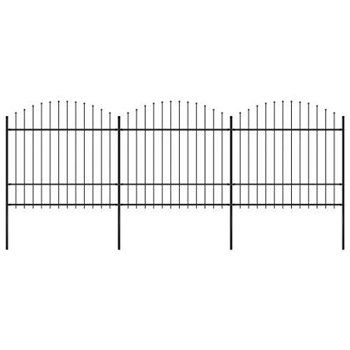vidaXL Gartenzaun mit dekorativen Speerspitzen Schmuckzaun Metallzaun Zaun Zaunelemente Stahlzaun Gitterzaun Zaunfeld Tor (1,5-1,75) x5,1m Stahl Schwarz