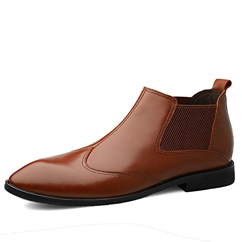 Chelsea Boots for Men Ankle Shoes Pull on Genuine Leather Anti Slip Stitching Solid Color Elastic High Top Pointed Toe Split Joint Men's Shoe Provide the best comfort for your all-weather life