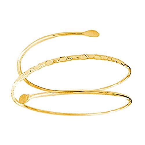 Bonarty Oberarmreif Offene Oberarm Armband Punk Stil Arm Spange Armreifen Damen Accessoires, Silber/Goldfarbe - Golden