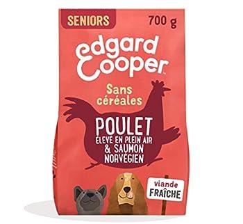 Edgard & Cooper Croquettes Chien Senior sans Cereales Nourriture Naturelle 700g Poulet et Saumon Frais, Alimentation Saine savoureuse et équilibrée, Protéines de qualité supérieure