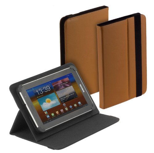 yayago Tablet Book-Style Tasche in Braun mit Standfunktion - Ultra Flach - für MP Man MPW815