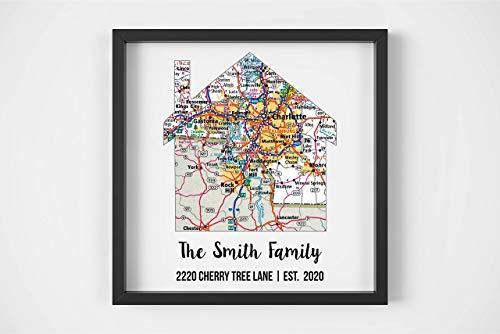 New Home Gift Housewarming Gift Map Art Gift Family Established Sign Last Name Art Family Art Framed Art Gift for New Home Realtor Gift