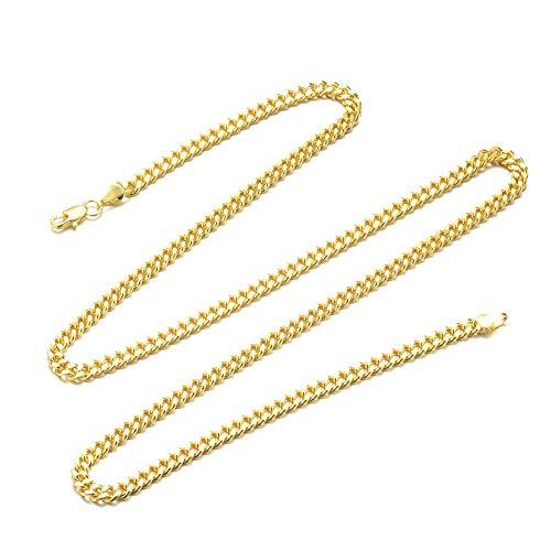 Fliyeong Collar de cadena para hombre, acero inoxidable, dorado, ancho 6 mm, longitud 60 cm, rentable