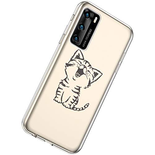 Herbests Kompatibel mit Huawei P40 Hülle Silikon Weich TPU Handyhülle Durchsichtige Schutzhülle Niedlich Muster Transparent Ultradünn Kristall Klar Handyhülle,Lachende Katze