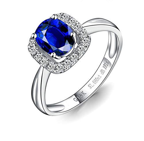 Bishilin Anillos de Oro Blanco 750 Alianza de Boda de 18K Clásico Bandas de Boda Azul Zafiro Diamante Anillo de Compromiso Aniversario Ring Forma Ovalada Regalos para El Aniversario de Navidad Azul