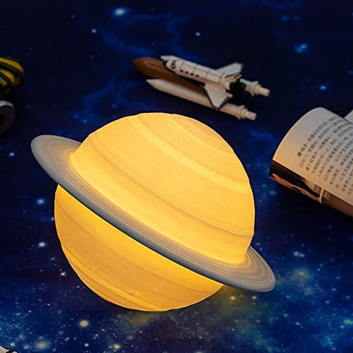 GYAM Luz De Noche Impresión 3D Saturno Luz USB Planeta Luz Luz De Control Remoto De 16 Colores para Decoración De Sala De Estar O Regalos Navideños,15cm