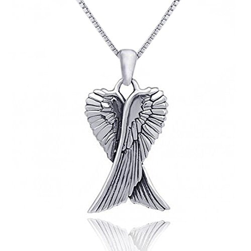 Guardian Angel Double Wing Silver Pendant Necklace (MEDIUM) for Women/Men/Unisex On 20 Inch Chain - 925 Sterling Silver Size: 16mm W X 31mm H - Weight: 3.06 Grams