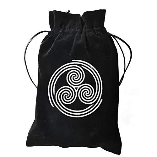 Tarot Bag, Tarot Storage Bag, Tarot Rune Bag, Tarot Bag Pouch, 13x18CM Thick Velvet,Celtic Runes Protective Card Board Game Embroidery Drawstring Bag