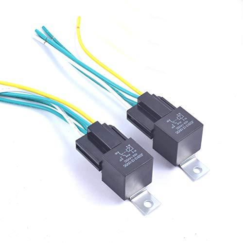 Cocar Interrupteur Automatique de Relais de Voiture 5 Clé Pré-Câblé 5 Fils Ensemble de Contacteur SPDT à 5 Broches 12V CC Fil de Cuivre Premium de 40 Amp JD2912 - Paquet de 2