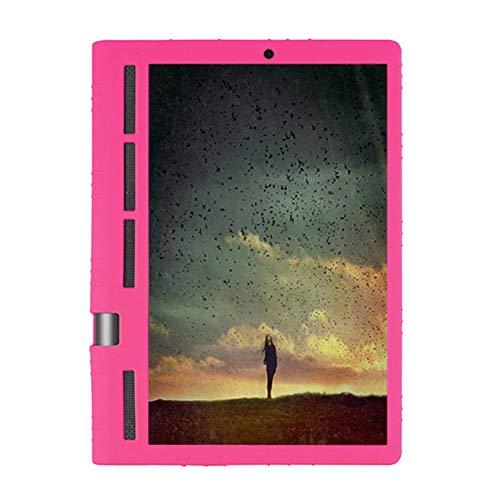 Hzjundasi Funda Silicona para Lenovo Yoga Tab 3 Pro 10.1' - Ligero Case Funda Protectora de Silicón con Estar para Lenovo Yoga Tab 3 Pro 10.1 Inch YT3-X90F M L/Plus 10.1 Inch YT-X703F,Rosa roja