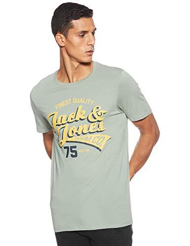 JACK & JONES Herren JJELOGO Tee SS Crew Neck 2 COL SS19 NOOS T-Shirt, Grün (Lily Pad Detail: Slim Fit), X-Large (Herstellergröße: XL)