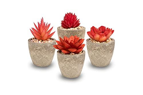 BonDecor Künstliche Sukkulenten Pflanzen 4er Set – Kunstpflanze mit Töpfen und Steinen als Deko für Wohnzimmer, Büro, Badezimmer, Schlafzimmer, Hochzeiten, Geschenk in Rot