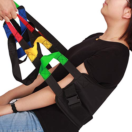 Kangwell Patient Lift Belt Assistance Belt with 5 Colors Handles(73Inch) , Non-Slip Transfer Belt, for Medical Lifting Assistance , Gait Belts for Physical Therapy (Black)