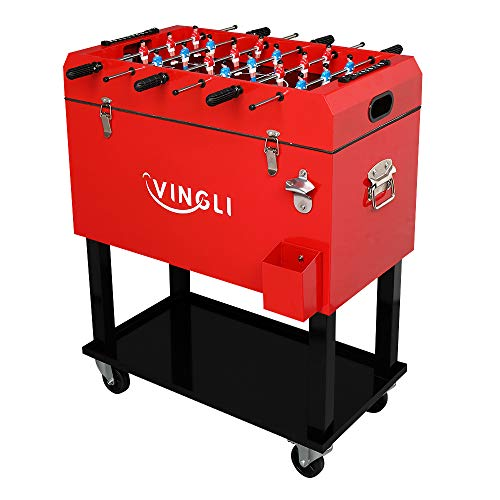 VINGLI 68 Quart Rolling Ice Chest on Wheels with Foosball Table Top, Portable Patio Party Bar Drink Cooler Cart, with Shelf, Beverage Pool with Bottle Opener,Water Pipe