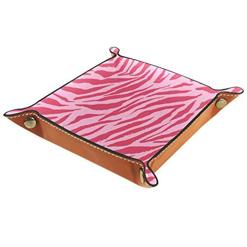 Bandeja de Cuero - Organizador - Patrón de cebra rosa - Práctica Caja de Almacenamiento para Carteras,Relojes,llaves,Monedas,Teléfonos Celulares y Equipos de Oficina