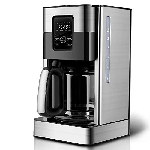 Kaffeeautomat mit Glaskanne, Kaffeemaschine mit Timer-Funktion, Filterkaffeemaschine mit wiederverwendbarem Filter, LCD-Touchscreen, Selbstreinigungsfunktion, 4H Warmhaltefunktion, 1,8L, Edelstahl