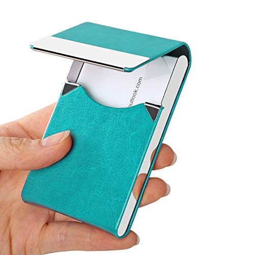 JuneLsy Business Card Holder Case - Professional PU Leather Business Card Case Metal Name Card Holder Pocket Business Card Carrier for Men & Women with Magnetic Shut (S-Light Blue)