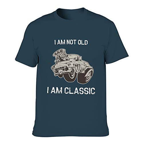 STELULI Men Cotton T-Shirt I Am Not Old I Am Classic Popular - Tops Navy 6XL
