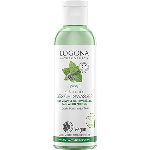 Bio Klärendes Gesichtswasser von LOGONA Naturkosmetik für unreine Haut & Mischhaut, Bio-Minze & natürlicher Salicylsäure aus Weidenrinde, Mattierend, Natürlich & Vegan, 125 ml