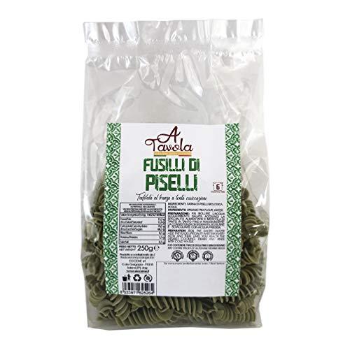 EOCENE Fusilli di farina di Piselli 1kg (4*250 g), Pasta secca di Semola di Grano duro Siciliano a lenta essiccazione, Specialità alimentare a base di legumi, Made in Italy