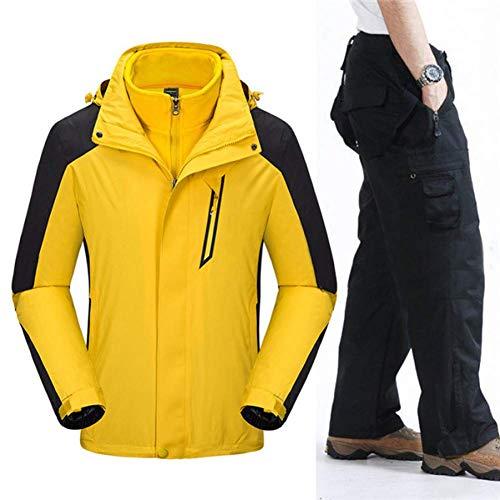 BCOGG Professional Ski Suit Hommes Coupe-Vent Imperméable Veste + Pantalon Hiver Chaud Sport en Plein Air Neige Ski Snowboarding Vêtements XL Orange