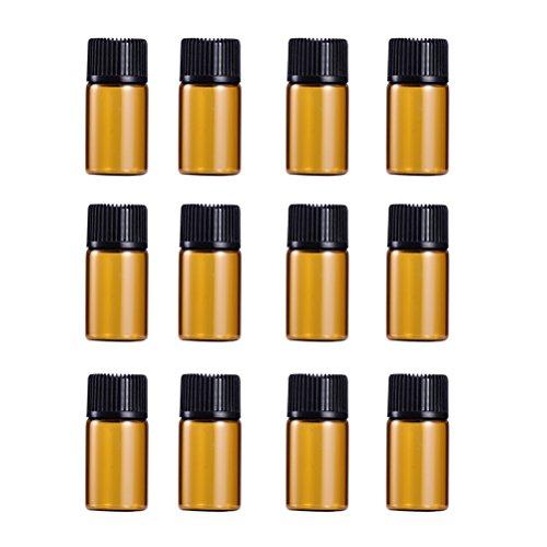Lurrose Lot de 9 mini flacons en verre ambré de 3 ml avec bouchon noir pour huiles essentielles, chimie, laboratoire, produits chimiques, Colognes