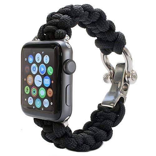 THj Correa de Reloj Apple Compatible 38 mm 42 mm 40 mm 44 mm, Correa de muñeca de Repuesto Tejida con Cuerda elástica Compatible con iWatch Series 4/3/2/1, Negro, 40 mm