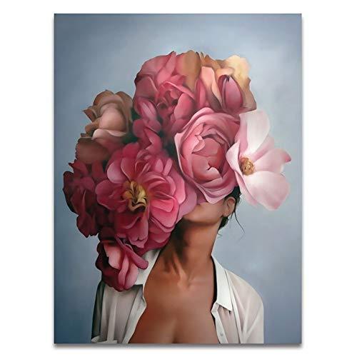Pintura al óleo por números de flores y mujeres pintura de bricolaje por números sobre lienzo decoración del hogar pintura digital sin marco A12 40x50cm