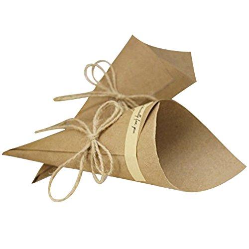 100pz Cono Coni Festa Matrimonio Tema Naturale Materiale Fai da Te Cartoncino Kraft, Corda di Canapa, Biadesivo, Etichetta Chiusura