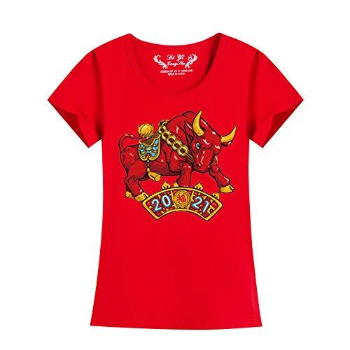 Janly Clearance Sale Familia a juego trajes de manga corta, 2021 año nuevo para mujer, camiseta de fondo casual, cuello redondo, blusa para Navidad